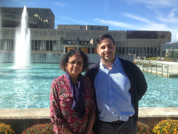 Kanchana Ugbabe and Raul Palma, creative writing instructor at Ithaca College.