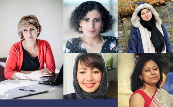 Women ICORN writers/artists 2018: Souzan Ibrahim, Sahar Mousa, Maha Nasser, Wesam AlMadani, Supriti Dhar.