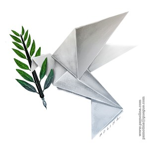 Origami bird with pen and olive branch